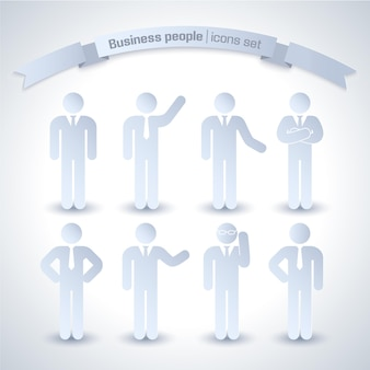 Business people icon set isolated and gray with grasses and without with tie and different mud