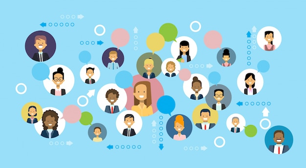 Business people icons network communication and team cooperation concept