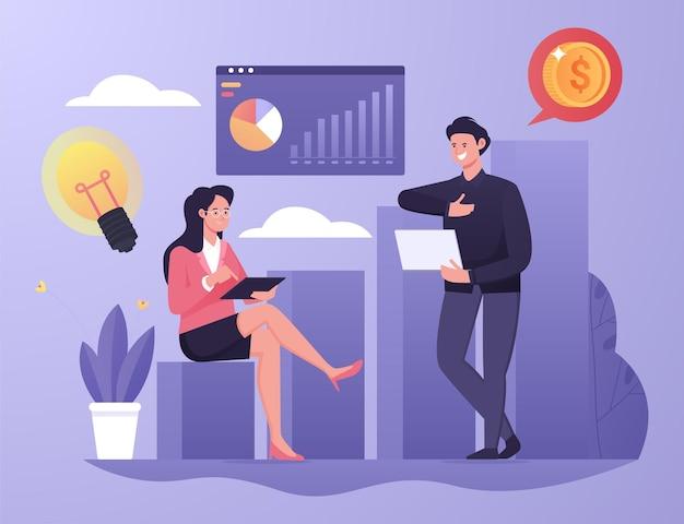 ビジネスマンのイラストの概念は、ビジネスの成長から収入の利益を増やす