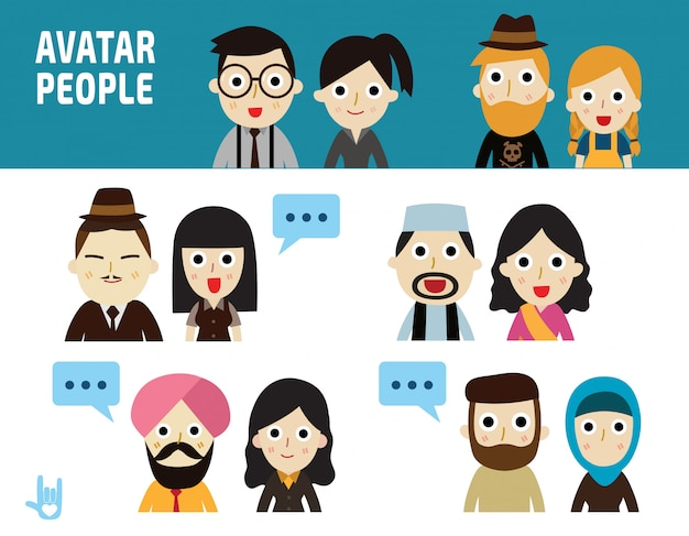 Business people illustration. portrait character flat design icons.