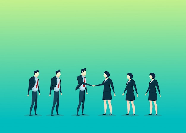 Business people illustration of teamwork deal man woman