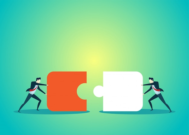 Business people illustration of teamwork move the puzzle