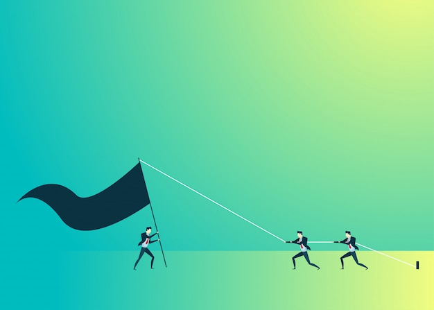 Business people illustration of teamwork stand up flag