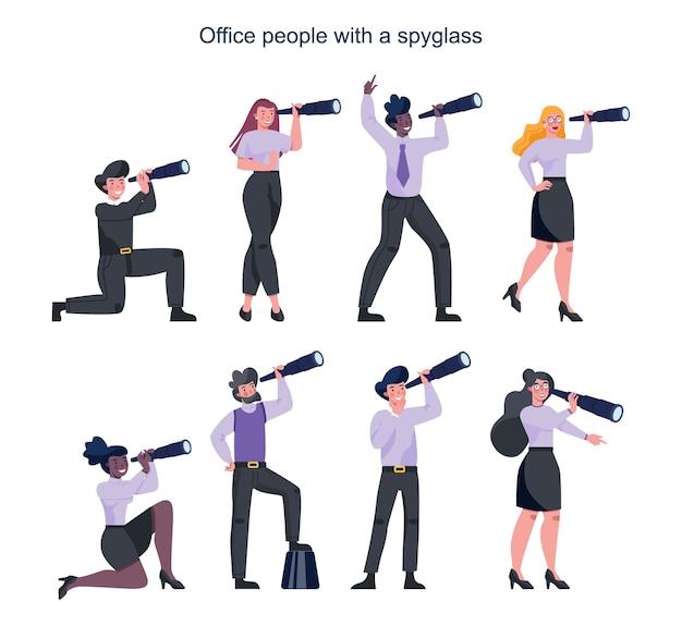 スパイグラスを持ってフォーマルな事務服を着たビジネスマン。望遠鏡を持ったオフィスマネージャー。新しい視点と機会を探している男性と女性。リーダーシップの概念。