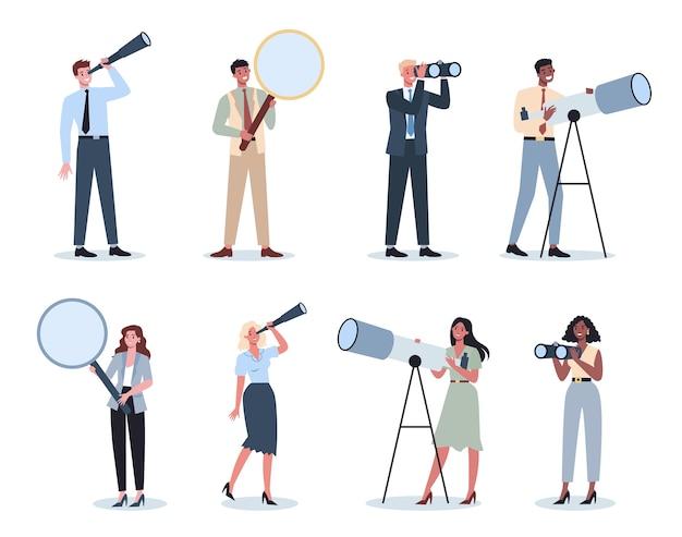 Деловые люди в формальной офисной одежде, держа подзорную трубу, телескоп, увеличительное стекло. мужчина и женщина ищут новые перспективы и возможности. концепция лидерства. векторная иллюстрация