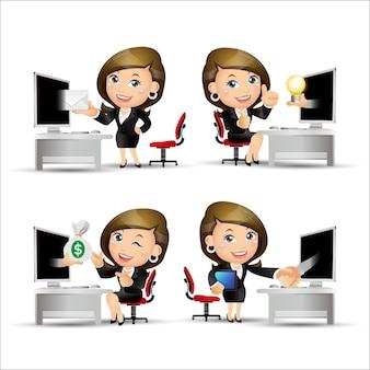 컴퓨터 앞에서 사업 사람들