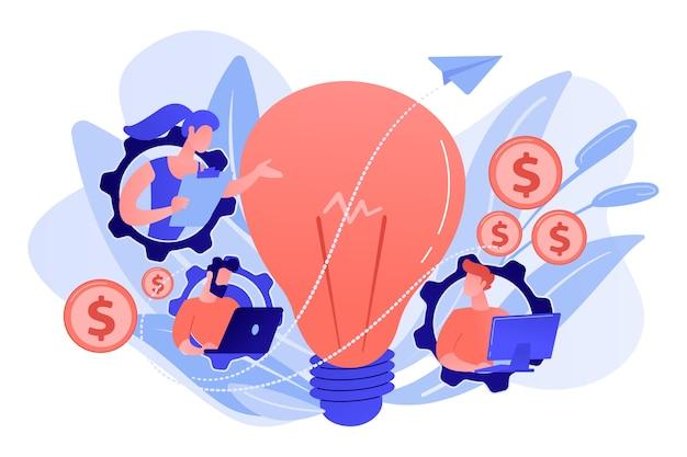 ラップトップが機能し、電球を持っているギアのビジネスマン。ビジネストレンド分析と白い背景のビジネス方向の概念を選択します。