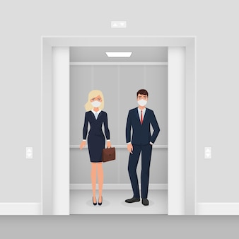엘리베이터에서 마스크에 사업 사람들