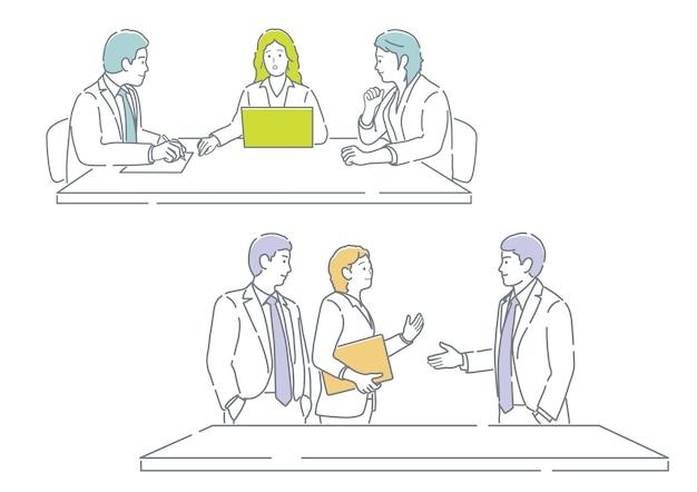 흰색 bac에 고립 된 간단한 평면 벡터 일러스트 세트를 사용하기 쉬운 회의에서 비즈니스 사람들