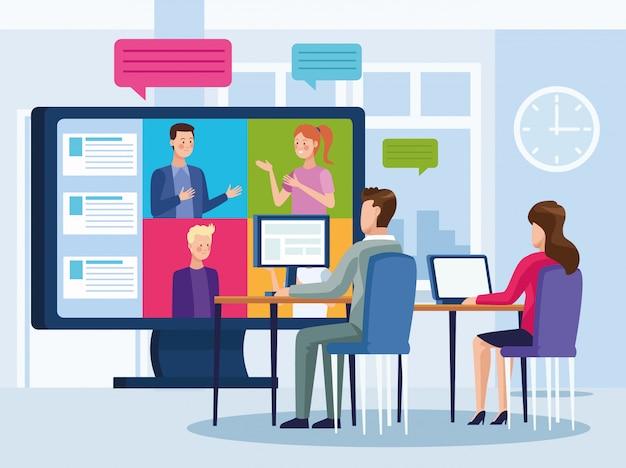 オンラインの再会を満たすビジネス人々