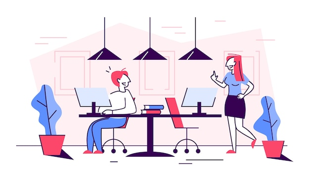 オフィスのビジネス人々はチームで働いています。コミュニケーションの考え方
