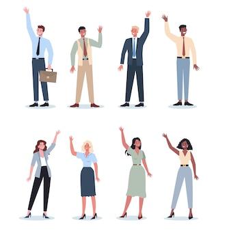 手を上げて公式服を着たビジネスマン。立って手を引き上げるスーツを着た労働者。投票、ボランティアのビジネスコンセプト。