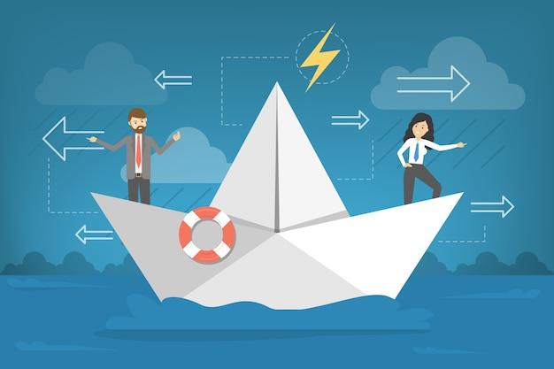 Деловые люди в бумажной лодке. спор команды
