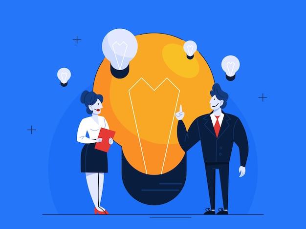 電球とスーツを着たビジネス人々。アイデアを持つ人。