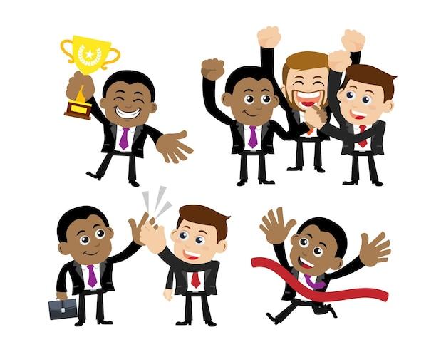 勝利のお祝いとパートナーシップのコンセプトのビジネスマン