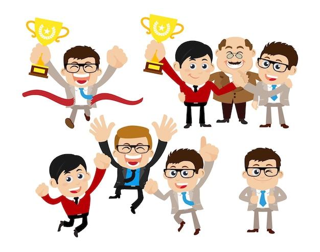 勝利のお祝いとパートナーシップの概念のビジネスマン