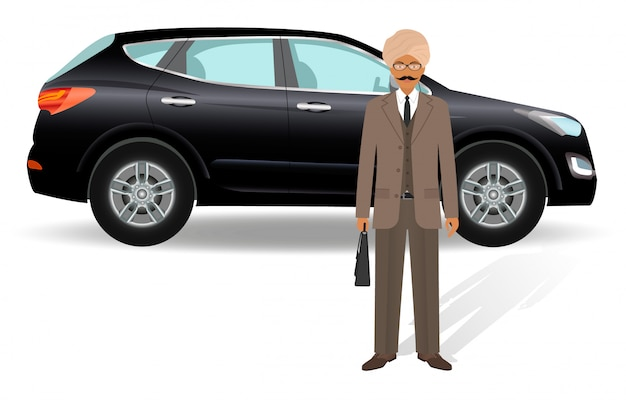 Business people . indian businessman standing on a luxury car .