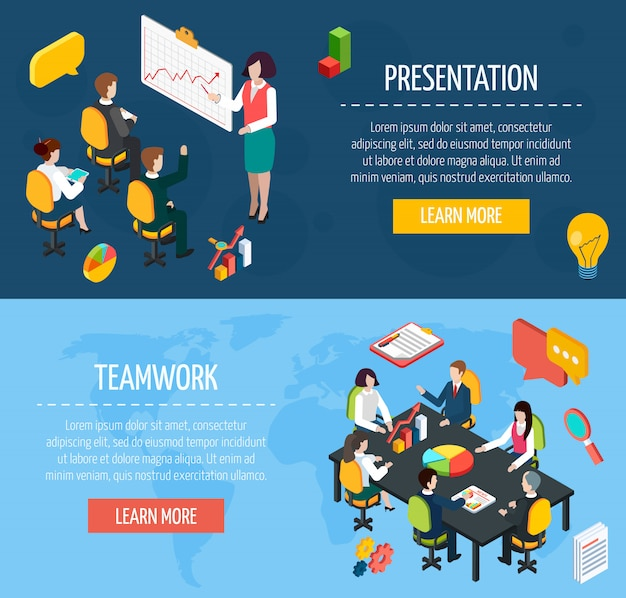 Business people interactive isometric banners set