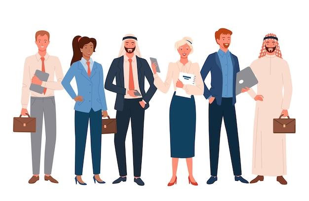 사업 사람들, 국제 직원 팀 세트. 만화 행복 전문 비즈니스 회사원 군중 및 함께 서있는 기업 다국적 문자