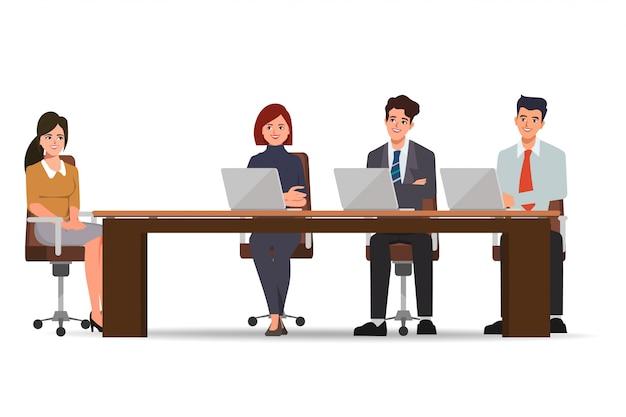 Деловые люди проводят собеседование с новым сотрудником для найма на работу. применить концепцию работы. векторные иллюстрации шаржа в плоском стиле.