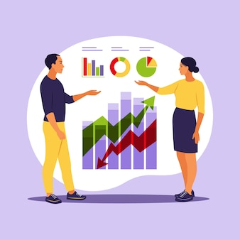 Business people investing into innovation with high potential. successful investors or entrepreneur. trading, financial consulting, investment and savings. vector illustration. flat.