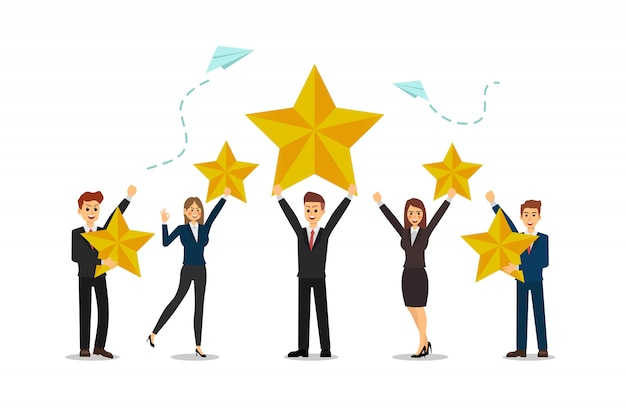 Business people is happy to be successful, high scores, star.