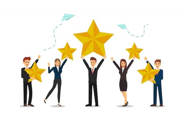 Деловые люди рады быть успешными, высокие баллы, звезда.