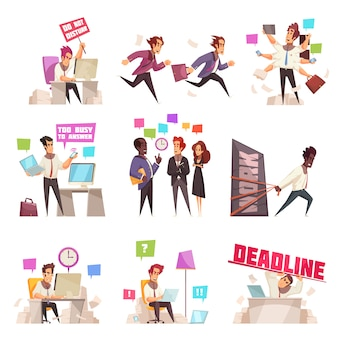 Деловые люди изолированы набор слишком занят и спешат на работу офисных работников плоской векторные иллюстрации