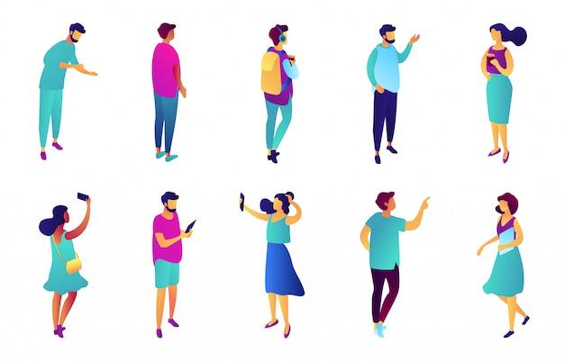 Business people isometric 3d illustration set.