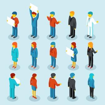 Figure isometriche di vettore 3d della gente di affari. set di donna e uomo. illustrazione vettoriale