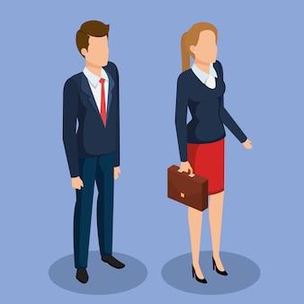Business people isometric avatars vector illustration design