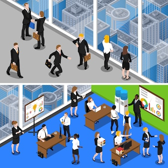 Business people isometric banners