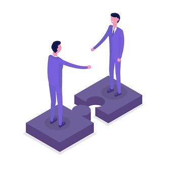 ビジネス人々等尺性文字、同僚。チームワークとパートナーシップの概念。白い背景の等角投影図。