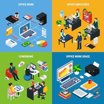 オフィス家具ワークスペースの重要な要素と人間のキャラクターのベクトル図の画像とビジネス人々等尺性デザインコンセプトベクトルイラスト