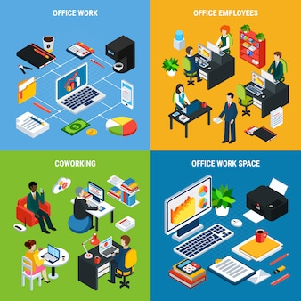 Business people isometric design concept with images of  office furniture workspace essential elements and human characters vector illustration