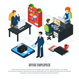 Business people isometric flowchart composition with editable text and human characters of office workers and furniture vector illustration