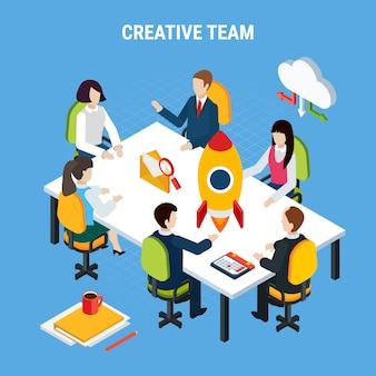 ビジネス人々等尺性、ピクトグラムベクトル図を共有するテーブルとクラウドに座っている人々のグループ