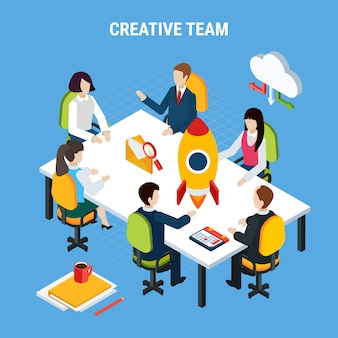 Business people isometric, group of people sitting at table and cloud sharing pictogram vector illustration