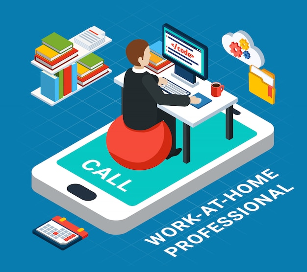 Business people isometric, human character of office professional working at home with smartphone vector illustration