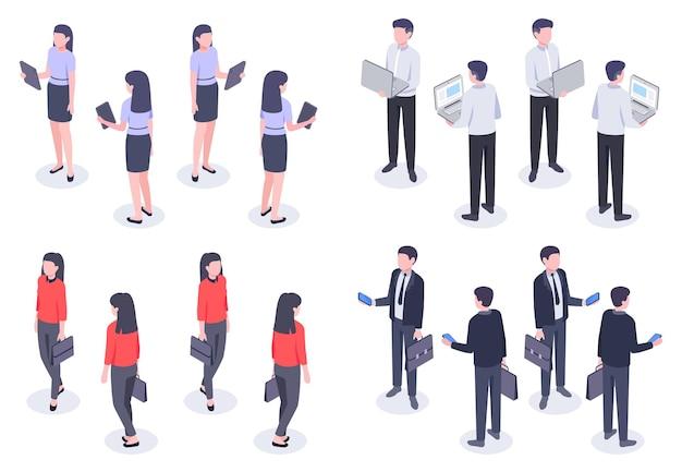 ビジネスの人々のアイソメトリックセット。ノートパソコン、スマートフォン、タブレットなどのデバイスを保持しているエレガントなフォーマルな服を着た男女のサラリーマン。女性と男性の従業員の正面図と背面図のベクトル図