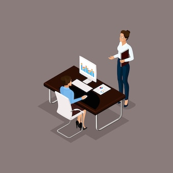 Business people isometric set of men and women in the office business concept isolated on gray background