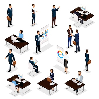 Business people isometric set of men and women in the office business suits isolated on a white background.