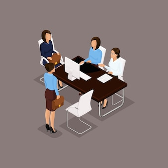 Business people isometric set of women, dialogue, brainstorming in the office isolated on dark background