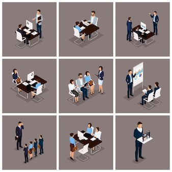 Business people isometric set of women and men