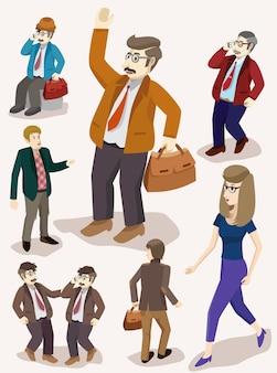 Изометрический набор деловых людей