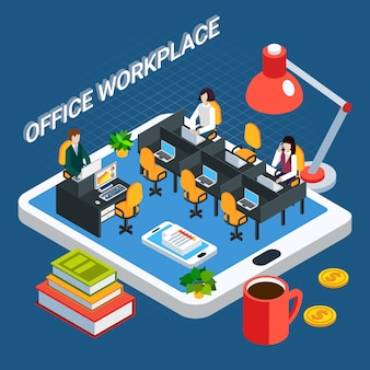 Business people isometric with office room furniture and clerks on top of tablet screen vector illustration