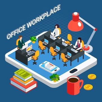 Gente di affari isometrica con la mobilia e gli impiegati della stanza dell'ufficio sopra l'illustrazione di vettore dello schermo della compressa