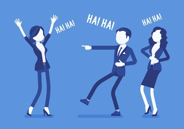 冗談を言ったり、笑ったりするビジネスマン。ビジネスマンやビジネスウーマンは気分が良く、面白いオフィスストーリーやトリック、仕事での娯楽のための従業員のユーモアを楽しんでいます。ベクトルイラスト、顔のない文字