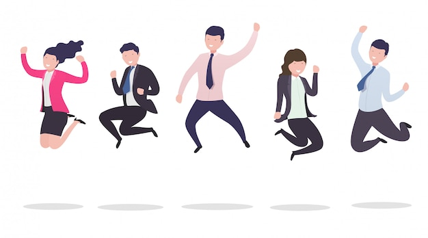 Business people in a jump