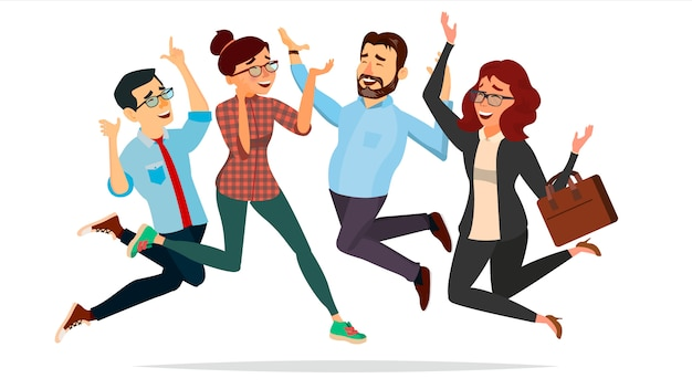 Business people jumping illustration